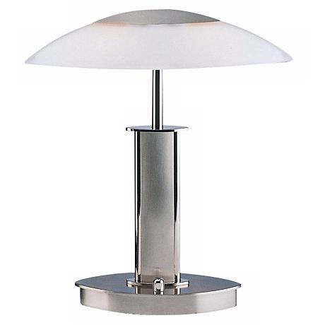 Mini Nickel Holtkoetter Desk Lamp w/ White Glass