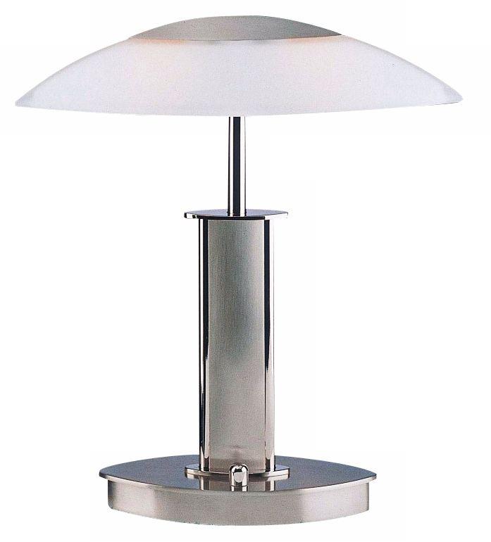 Holtkoetter Nickel Finish Mini Desk Lamp With White Glass