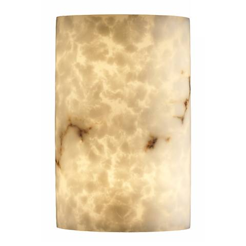 Faux Alabaster Large Cylinder Wall Sconce