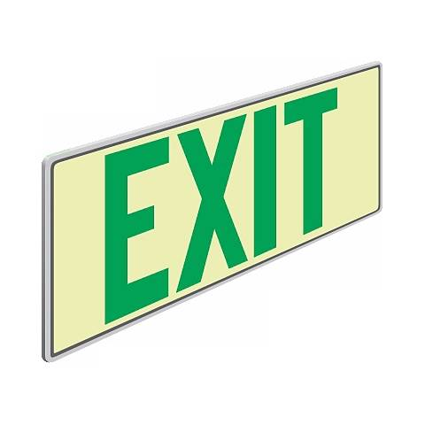 Photoluminescent Green Letters Exit Sign