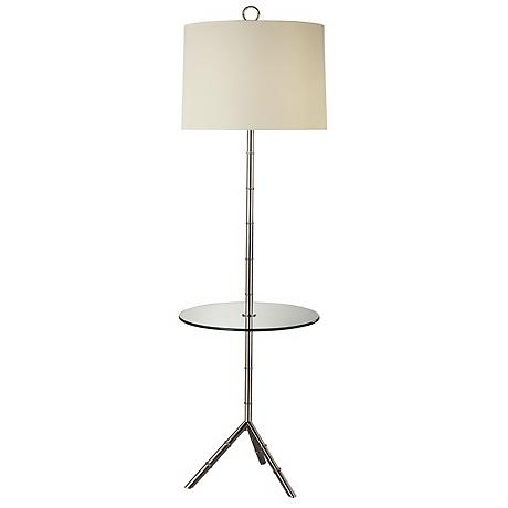 Jonathan Adler Polished Nickel Tray Table Floor Lamp