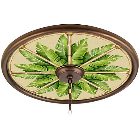 """Pacific Palm 24"""" Wide Bronze 4"""" Opening Medallion"""