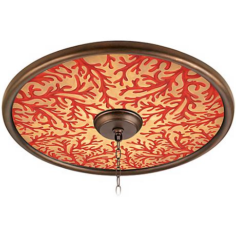 """Coral on Gold 24"""" Wide Bronze Finish Ceiling Medallion"""