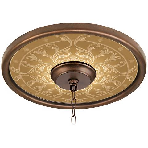 "Tracery Spice 16"" Wide Bronze Finish Ceiling Medallion"