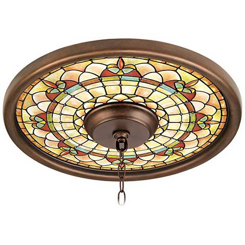 """Tiffany Tracery 16"""" Wide Bronze Finish Ceiling Medallion"""