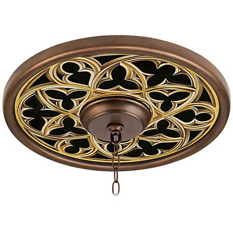 """Gothic Arch 16"""" Wide Bronze Finish Ceiling Medallion"""