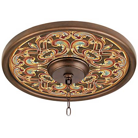 """Etruscan Scroll 16"""" Wide Bronze Finish Ceiling Medallion"""