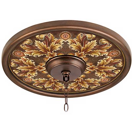 """Acanthus Noble Giclee 16"""" Wide Bronze Ceiling Medallion"""