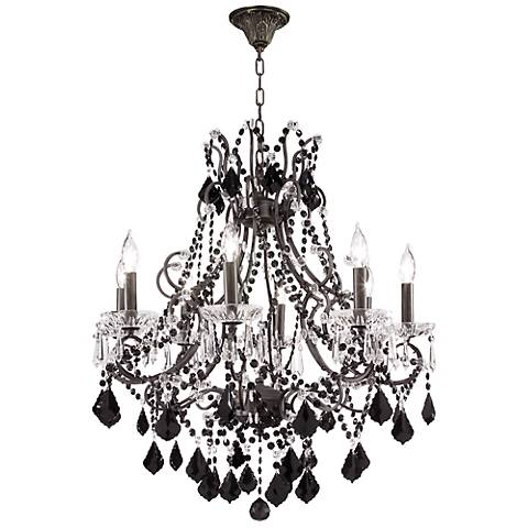"Charleston Collection 28"" Black Crystal Chandelier"