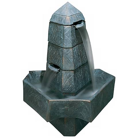 "Henri Studio 49""H Abstract Obelisk Bronze Patina Fountain"