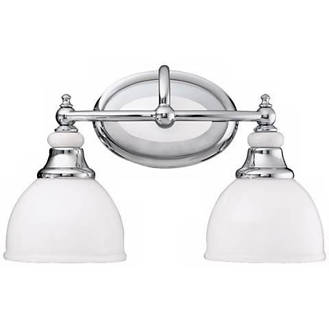 Chrome and Cased Opal Glass 14 1 2 quot  Wide Bathroom Light. Chrome and Cased Opal Glass 14 1 2 quot  Wide Bathroom Light    04762
