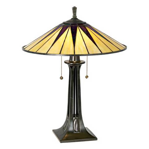 Quoizel Gotham Antique Bronze Tiffany Style Table Lamp