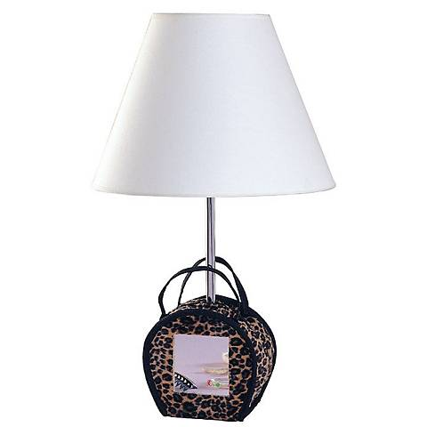 Animal Print Purse with Mirror Table Lamp