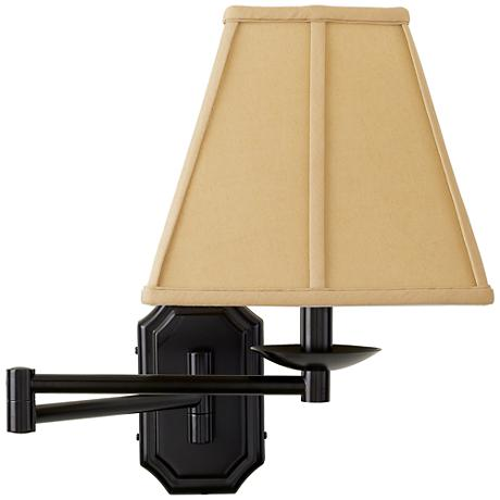 Dark Bronze Beige Shade Plug-In Swing Arm Wall Lamp