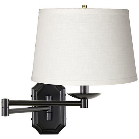 White Linen Shade Dark Bronze Plug In Swing Arm Wall Lamp 06063 K4850 Lamps Plus