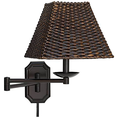 wicker square dark bronze plug in swing arm with cord cover 06063 u1248 05178 lamps plus. Black Bedroom Furniture Sets. Home Design Ideas
