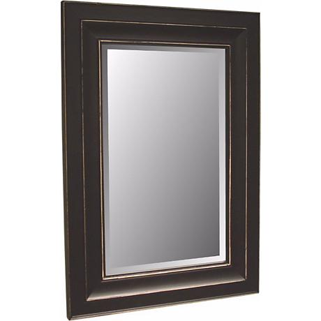 """Bar Harbour Distressed Black Finish 46"""" High Wall Mirror"""