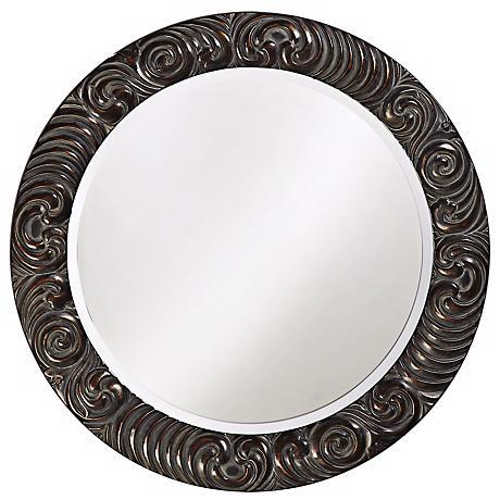 "Antique Black Carthage 32"" Wide Wall Mirror"