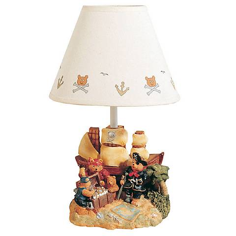 Teddy Bear Treasure Island Hand Painted Child's Table Lamp