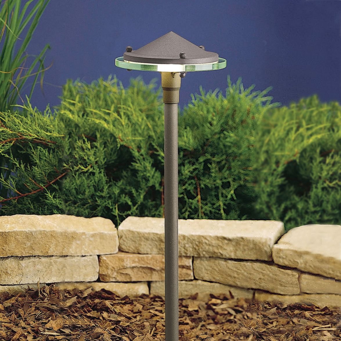 kichler glass and metal china hat landscape light - Kichler Landscape Lighting