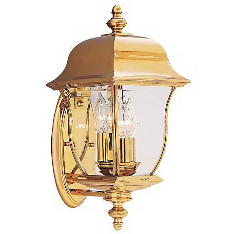 "Gladiator 17 1/2""H Polished Brass Outdoor Wall Light"