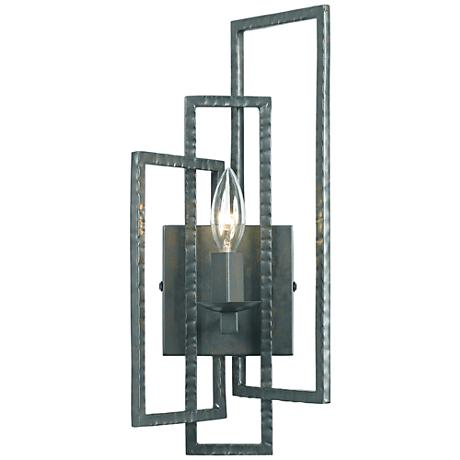 """Crystorama Capri 15 3/4""""H Gray Hammered Steel Wall Sconce"""