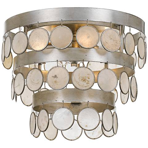 "Coco 13 3/4"" Wide Silver and Capiz Shell Ceiling Light"