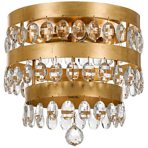 "Crystorama Perla 13 3/4"" Wide Antique Gold Ceiling Light"