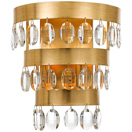 """Crystorama Perla 11 1/4"""" High Antique Gold Wall Sconce"""