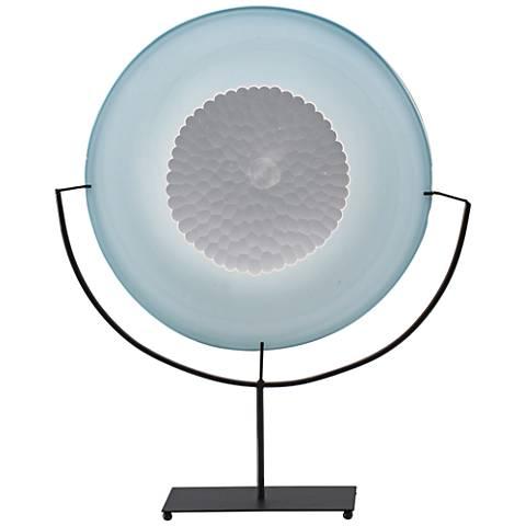 Viz Ilene Blue with Cold Work Center Art Glass Charger
