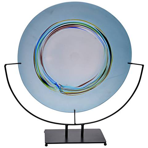 Viz Calla Aqua with Color Surrounding Art Glass Charger