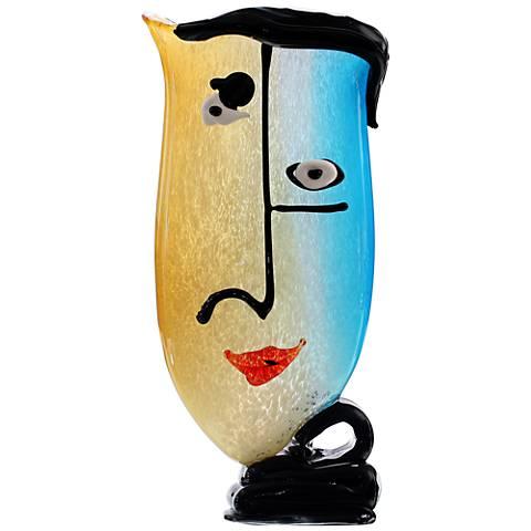 "Viz Faces 16"" High Multi-Color Amber and Blue Sculpture"