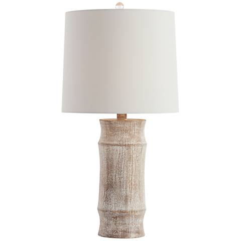 Arteriors Home Jesup Carved Wood Column Table Lamp