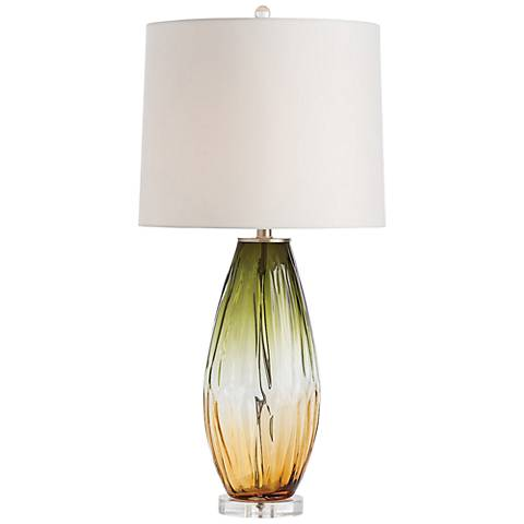 Arteriors Home Celine Olive and Amber Ombre Glass Table Lamp