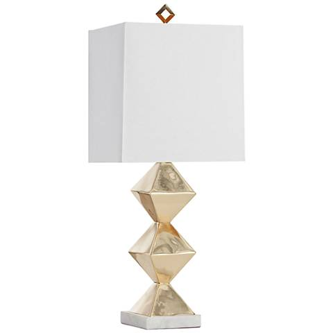 Arteriors Home Cecilia Geometric Brass Column Table Lamp
