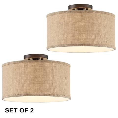 Set of 2 Adams Bronze Burlap Drum LED Shade Ceiling Light
