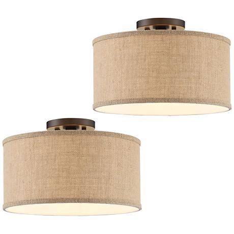 Set of 2 Adams Bronze Burlap Drum Shade Ceiling Light