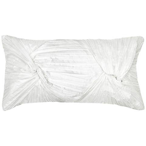 "Carra White Twisted Rouching 21"" x 11"" Throw Pillow"