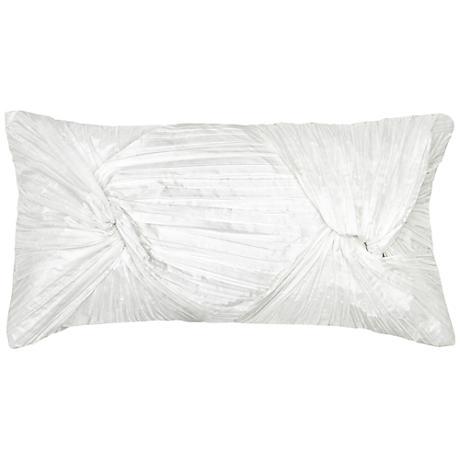 "Carra White Twisted Rouching 21"" x 11"" Throw Pillow"