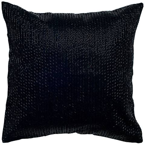 "Bella Black Zigzag Solid 18"" Square Beaded Throw Pillow"