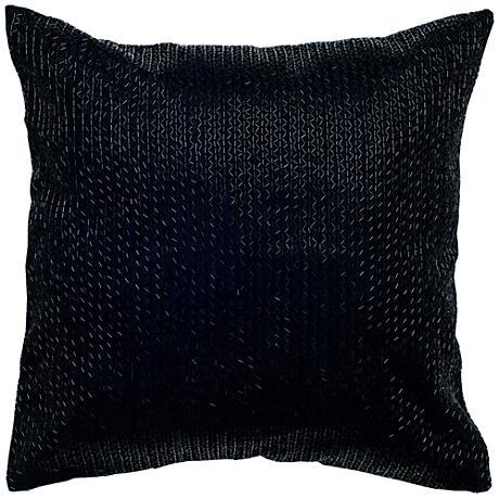 """Bella Black Zigzag Solid 18"""" Square Beaded Throw Pillow"""
