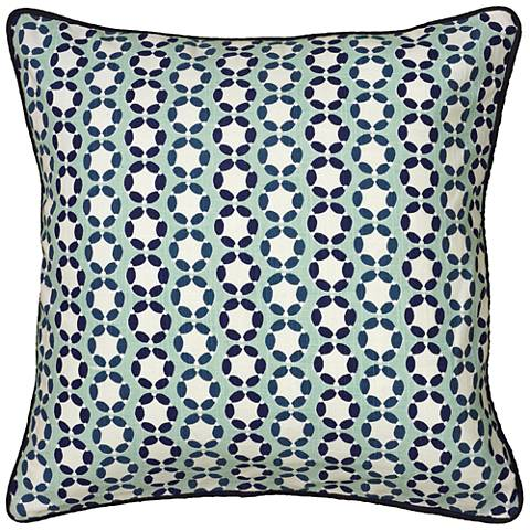"Lissie Blue Printed Cording Details 18"" Square Throw Pillow"