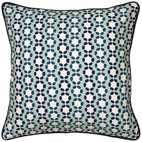 """Lissie Blue Printed Cording Details 18"""" Square Throw Pillow"""