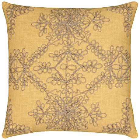 "Sarah Medallion Natural and Yellow 18"" Square Throw Pillow"