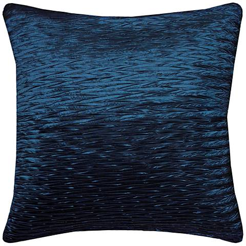 "Kelly Blue Solid Crinkle Poly Sheen 18"" Square Throw Pillow"
