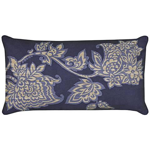 """Tara Deep Blue and Tan Floral 21""""x11"""" Printed Throw Pillow"""