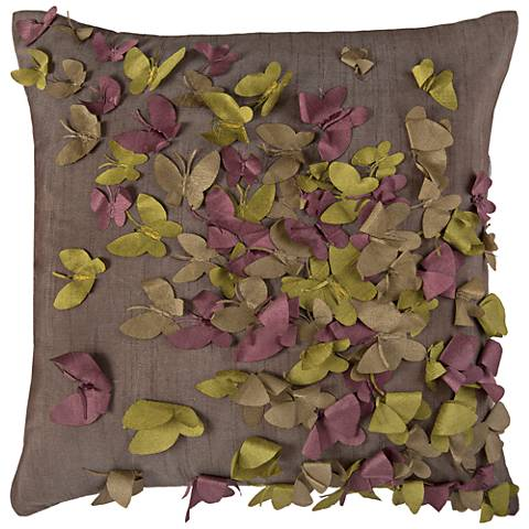 "Kaleidoscope Butterfly Frenzy Gray 18"" Square Throw Pillow"