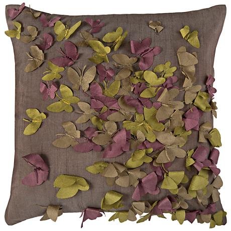 """Kaleidoscope Butterfly Frenzy Gray 18"""" Square Throw Pillow"""