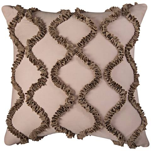 "Hourglass Ogee Ruffle Georgette Wave 20"" Square Pillow"