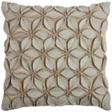 "Jessica Floral Petal Textured Cream 18"" Square Throw Pillow"